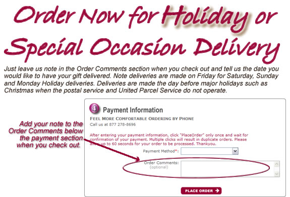 Order in Advance for Holiday Delivery