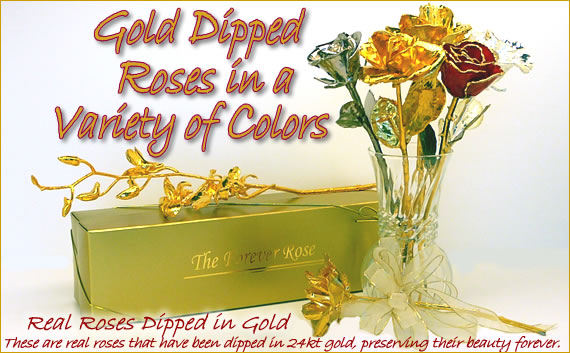Gold Roses Image - These are real roses that have been dipped in 24kt gold, preserving their beauty forever.