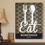 Customized Family Bistro Sign Canvas Print with Filigree Background