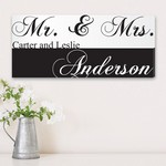 Artistic Mr. & Mrs. Couple Canvas Sign
