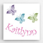 Personalized Kids Butterflies Image Accented Canvas Sign