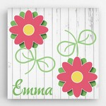 Customized Kids Flower Design Canvas Sign