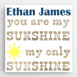 Boys Customized Sunshine Message Accented Canvas Sign - Baby and Children's Signs Sign Shop