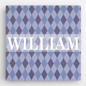 Boys Personalized Diamond Pattern Canvas Sign - Baby and Children's Signs Sign Shop