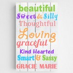 Customized Colorful Descriptive Words Kids Canvas Sign