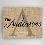 Customized Burlap Design Family Name and Initial Canvas Sign
