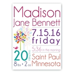 Personalized Baby Girl Announcement Canvas Sign