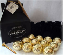 24K Gold Dipped Golf Ball and 24K Tees - 12
