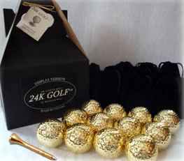 24K Gold Plated Golf Balls and Gold Tone Tees - Dozen