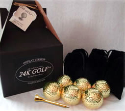 24K Gold Plated Golf Balls and Gold Tone Tees - Six