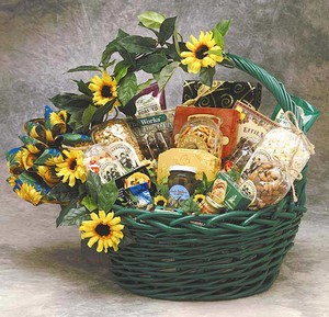 Sunflower Gift Basket and Treats - Gourmet Foods Gift Baskets and Gourmet Food