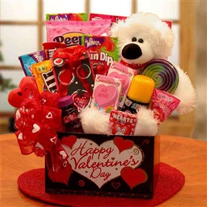 Huggable Bear Kids Valentine Gift Box - Valentine's Day Baskets Gift Baskets and Gourmet Food