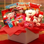 My Little Sweethearts Valentine Care Package - A teddy bear and collection of activity gifts and sweet treats for Valentines Day.