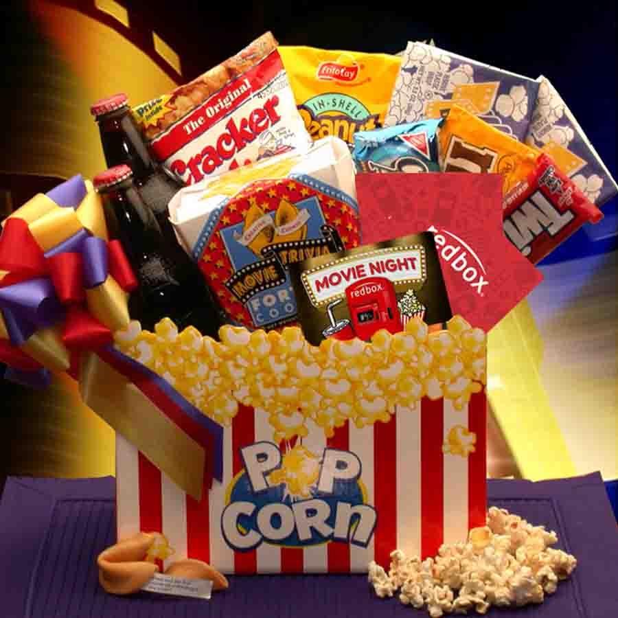 Themed Gift Box Ideas : Movie night gift box snack baskets arttowngifts