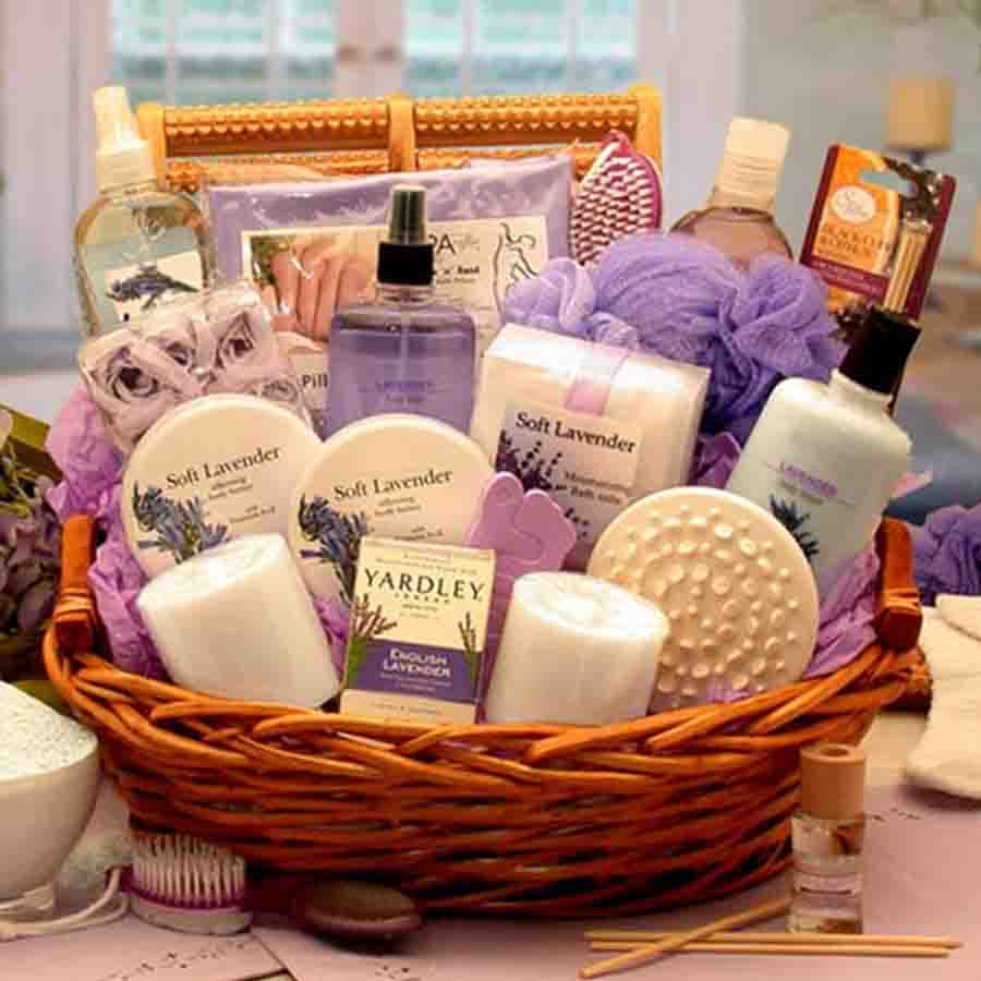Essence of lavender spa gift basket gifts for her for Luxury gift for women