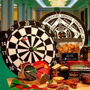 Deluxe Bulls-eye Dartboard and Gourmet Gifts - Sports Gift Baskets Sports Gifts