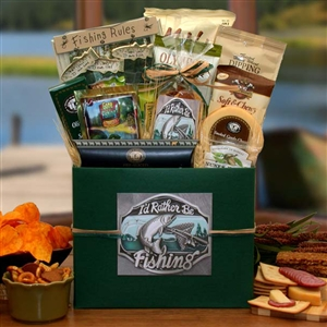 Rather Be Fishing Gift Box - Fathers Day Baskets Gift Baskets and Gourmet Food