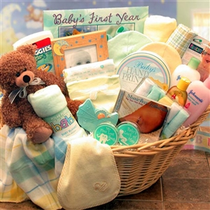 Yellow Welcome Home Deluxe Baby Basket - Babies and New Parents Gift Baskets and Gourmet Food