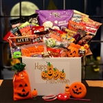 Halloween Sampler Care Package - It's a cute Jack O' Lantern decorated gift box filled with fun Halloween treats.