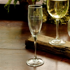 Engraved Toasting Glass - Celebrate special occasions with an engraved toasting glass. Give these monogrammed flutes as party favors to preserve the memories forever. | Engraved Toasting Glass | Monogrammed Flutes