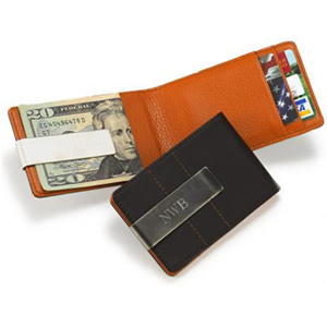 Metro Leather Wallet Money Clip Personalized