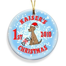 Puppy Merry Christmas Personalized Ornament - Personalized Holiday Ornaments for the dog lover!
