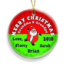 gifts - Santa Round Merry Christmas Personalized Ornament - Christmas Gifts