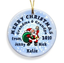 Santa Snow Merry Christmas Personalized Ornament - Christmas Ornaments Christmas Gifts