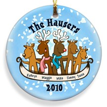 Reindeer Family Christmas Ornament Personalized
