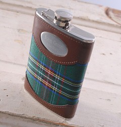 Green Plaid Flask Personalized - A sophisticated twist on the traditional flask!