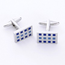 12 Squares Cufflinks with Free Personalization Silver Gift Box
