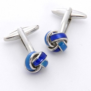 Blue Knot Cufflinks with Personalized Gift Box - Cufflinks to match personalities packed in an elegant personalized chrome box