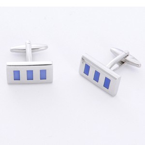 Blue Rectangle Cufflinks with Personalized Gift Box - Cufflinks to match personalities packed in an elegant personalized chrome box