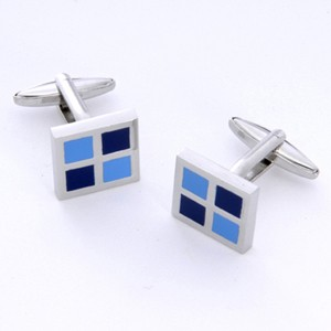 Blue Squares Cufflinks with Personalized Gift Box - Cufflinks to match personalities packed in an elegant personalized chrome box