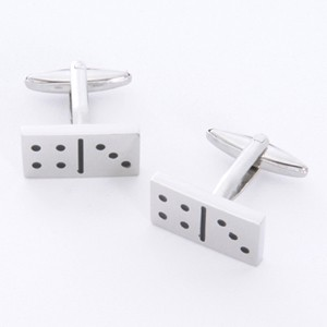 Dominoes Cufflinks with Personalized Gift Box - Cufflinks to match personalities packed in an elegant personalized chrome box