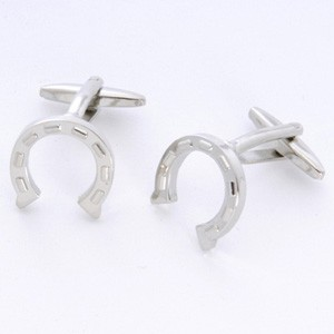 Horseshoes Cufflinks with Personalized Gift Box - Cufflinks to match personalities packed in an elegant personalized chrome box