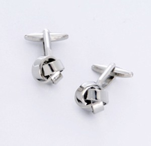Silver Knot Cufflinks with Personalized Gift Box