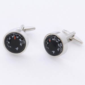 Thermometer Cufflinks with Personalized Gift Box - Cufflinks to match personalities packed in an elegant personalized chrome box