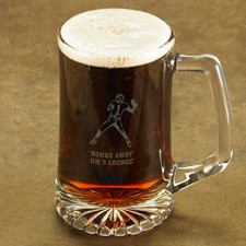 Sports Icon of Choice Beer Stein Personalized - Choose from a variety of sports and hobby images and then add your personal engraving.