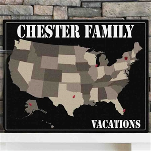 American Family Travel Map Canvas Wall Art - Personalized - Family and Friends Signs Sign Shop