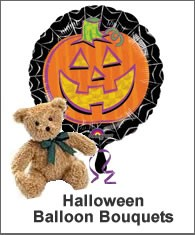 Halloween Balloons and Teddy - Send someone a Halloween Balloon Bouquet and teddy bear today