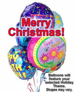 Half Dozen Mylar Balloons Christmas
