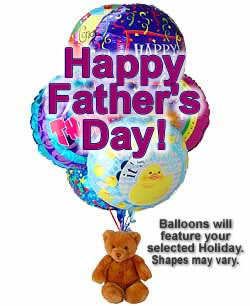 Balloons and a teddy bear, bound to leave a special someone beaming! - Half Dozen Mylar Balloons and Teddy - Fathers Day