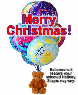 Christmas Balloon and Teddy Bouquet - Balloon Bouquets Gift Baskets and Gourmet Food