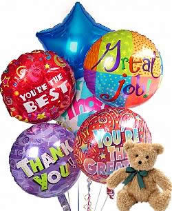 Say thank you with Balloons and a teddy bear