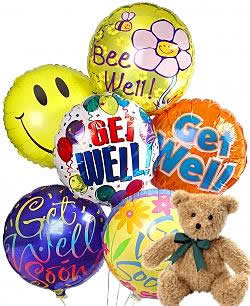 Balloons and a teddy bear, bound to leave a special someone beaming! - Half Dozen Mylar Balloons and Teddy - Get Well