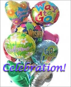 Celebration Balloons - Dozen Mylar - Balloon Bouquets Gift Baskets and Gourmet Food