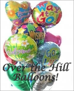 Celebrate any occasion with luminous balloons! - Dozen Mylar Balloons - Over the Hill