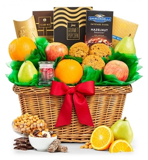 Fruit Celebrations Gift Chest-The perfect trio of fresh fruit, sweet confections and savory flavors!