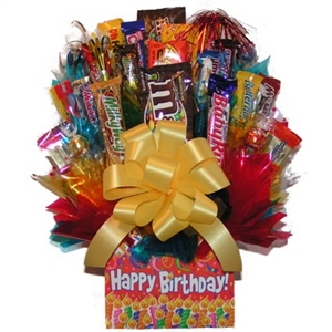 Happy Birthday Candy Bouquet - Candy Bouquets Gift Baskets and Gourmet Food